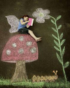 Kreidenmalerei Foto Kinder