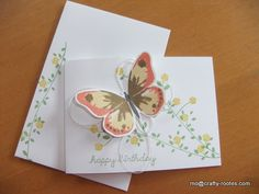 Stampin Up Watercolor Wings and Floral Wings stamp set. Butterfly stamped in So Saffron, Calypso Coral and Soft Suede