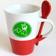 Alpha Chi Omega Sorority Coffee Mug with Spoon $9.95 #Greek #Sorority #Accessories #AChiO #AlphaChiOmega