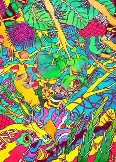 Busy, hypnotic, alien, a Nokia ad by Bicicleta sem Freio, with flora and fauna that seems familiar but is twisted into new life with outrageous colour and startling mutations. Art And Illustration, Graphic Design Illustration, Tachisme, Photographie Street Art, Graffiti, Psychedelic Drugs, Visionary Art, Trippy, Illustrators