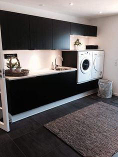 Beautiful and stylish laundry room.