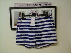 Ideal y cómodo... Short rayas blanco&azul!