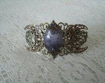 Amethyst Moon Cuff Bracelet, gothic jewelry victorian jewelry edwardian jewelry renaissance jewelry medieval art nouveau art deco steampunk