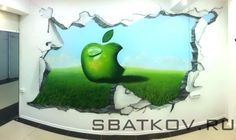 "Humorous custom Trompe L'oeil mural inspired by ""Apple"" Murals, Commercial, Hand Painted, Apple, 3d, Inspired, Inspiration, Apple Fruit, Biblical Inspiration"