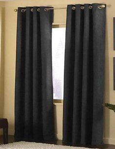 4-pieces  Black Micro Suede Grommet Top Lined Panel Window Curtain Set