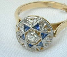 Antique Diamond and Sapphire Ring 1920s Vintage.