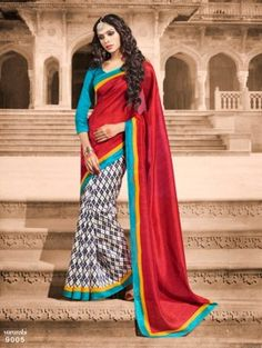 Maroon & Aqua Blue Bhagalpuri Silk Saree Ash 14