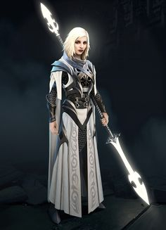 ArtStation - Etiesa, Vermin Hunter, Yurii Nikolaiko female human fighter / paladin with magical dual blade / spear glowing blade DnD / Pathfinder character inspiration Fantasy Armor, Medieval Fantasy, Dark Fantasy, Dnd Characters, Fantasy Characters, Female Characters, Fantasy Character Design, Character Concept, Character Art