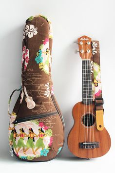 Soprano ukulele case & strap(Ready to ship)/ hula girl brown F / gig bag / hawaiian fabric / tropical / surfboard / instrument case