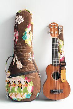 Soprano ukulele case & strap(Ready to ship)/ hula girl brown F / gig bag / hawaiian fabric / tropical / surfboard / instrument case