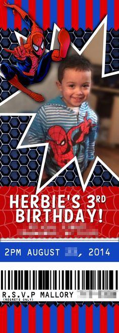 Spiderman Ticket Stub Birthday Invitation by RMB Art & Design https://www.facebook.com/RMBArtAndDesign/