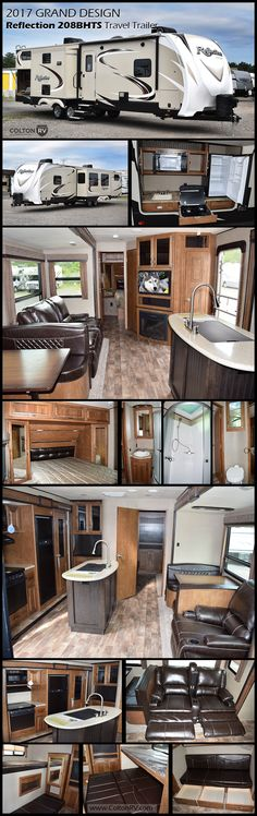 You can bring the whole family AND friends camping in this 2017 Grand Design Reflection 308BHTS travel trailer. With triple slides, a private bunkhouse, outdoor kitchen and more, you are sure to be wowed. Relax and enjoy the entertainment center with a cozy fireplace beneath in the main living space. The private bunkhouse has a slide out sofa bed and flip bunk above. Opposite that there is a smaller sofa bed and bunk above. Both sofa beds convert to a king size bed when put together!