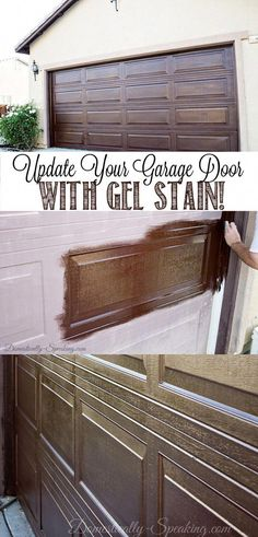 Your Garage Door with Gel Stain, Create a Faux Wood Look. Who knew you could make a plain garage door look this richUpdate Your Garage Door with Gel Stain, Create a Faux Wood Look. Who knew you could make a plain garage door look this rich Garage Door Update, Diy Garage Door, Garage Door Makeover, Garage House, Garage Storage, Garage Ideas, Garage Organization, Exterior Makeover, House Front