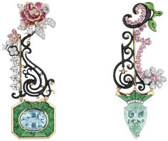 "DIOR. ""Bosquet de la Reine Paraïba Tourmaline"" earrings in white, yellow and pink gold, diamonds, Paraiba-type tourmalines, emeralds, pink sapphires and lacquer #DIOR #DIORÀVersaillesCôtéJardins #DIORJewellery #HighJewelry #FineJewellery #HauteJoaillerie"