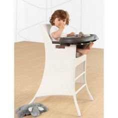 Our Wicker High Chair will allow your little one to join you at mealtime, without minimizing your kitchen or dining room décor. Crafted in Belgium from weather-resistant rattan wicker woven around an ultra-light aluminum frame, this high chair lends a classy and tasteful look to the room.
