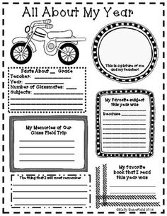 End of the Year Posters and Memory Book- Auto Theme.  Perfect for the boys in your class.  Students will enjoy writing about their school year using these posters or making a memory book.  $