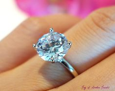 The Perfect Engagement Ring, A 3 CT Round Cut Russian Lab Diamond Solitaire Stainless Steel Ring