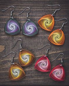 Red vortex earrings/ Red quilling earrings/ Red paper earrings/ Quilling jewelry/ Paper Jewelry/ Best gift for her/ Light weight earrings - These delicately hand-crafted vortex earrings are made from thick paper quilling strips with a - Paper Quilling Earrings, Paper Quilling Patterns, Quilled Paper Art, Quilling Paper Craft, Quiling Earings, Quilling Comb, Neli Quilling, Paper Jewelry, Paper Beads