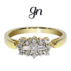 Elegante anillo estilo barco. Oro 14k Diamante natural de mina en corte baguette y corte brillante. .17ct o .45ct. ¡Sólo en GN! Mina, Baguette, Engagement Rings, Wedding, Jewelry, Fashion, Natural Diamonds, White Gold, Glow
