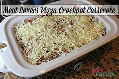 Meat Lovers Pizza Crockpot Casserole #crockpot #slowcooker #pizza #casserole #recipe