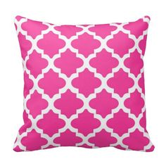 Hot Pink Throw Pillows with white quatrefoil print - square 16 x 16 with insert included Pink Throw Pillows, Designer Throw Pillows, Decorative Throw Pillows, Teen Throws, Hot Pink Weddings, Trellis Pattern, Everything Pink, Quatrefoil, My New Room