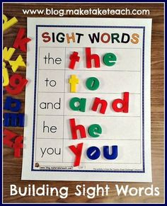 5 Free sample templates for building sight words and other ideas for teaching and practicing sight words
