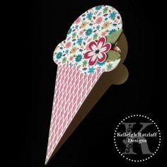 Ice Cream Cone Card | Kelleigh Ratzlaff Designs Ice Cream Cone Card Template Set and Cut Files #svg #silhouettecameo