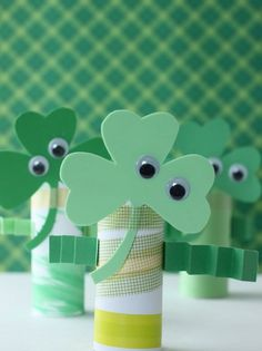 Pin for Later: 250 Easy, Fun Ways to Get Crafty With Your Kids! Shamrock Men Recycle those toilet paper rolls to create some little green men. Source: Sweet and Lovely Crafts