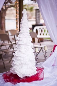 How to make beautiful winter trees out of coffee filters and cupcake liners. #christmas #winter #DIYdecorations Hight impact and so inexpensive! by nettie