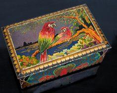 Dutch De Jong Cocoa Tin Box Art Deco Parrot door vintageeclecticity