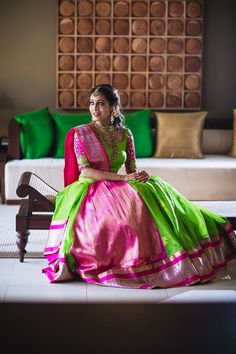 "Real Brides in Lightweight Bridal Outfits prove ""Less is More"" Raw Silk Lehenga, Banarasi Lehenga, Half Saree Lehenga, Bridal Lehenga, Sarees, Lehnga Blouse, Half Saree Designs, Sari Blouse Designs, Mehendi Outfits"