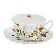 Tea Cup and Saucer Set Porcelain Garden Motif