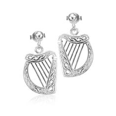 Rhodium Plated 925 Sterling Silver Celtic Harp Ball Post Stud Earrings 12 mm- Nickel Free * Click image for more details.