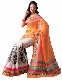 So Stylish Party Wear #Embroidered Beige Color #Saree | Cotton ...
