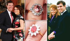 Princess Eugenie's engagement ring from Jack Brooksbank has emulated her mother's! When Sarah Ferguson married Prince Andrew she favoured a red stone, which matched her colour palette (and temper) Princess Eugenie Engagement Ring, Princess Eugenie Jack Brooksbank, Royal Engagement Rings, Celebrity Engagement Rings, Princess Beatrice, Perfect Wedding, Dream Wedding, Wedding Ring, Eugenie Wedding