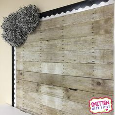 Love this bulletin board with WOOD PAPER!  So cool & rustic!