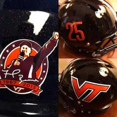 Virginia Tech's alternate helmets, and the patch they'll wear to honor Frank Beamer on November 21, 2015.