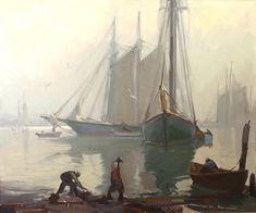 """""""Misty Morning, Gloucester Harbor"""" by Emile Albert Gruppe (American, 1896-1978)."""