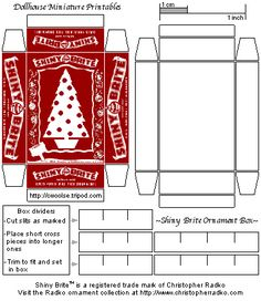 Mini Dollhouse Printable Christmas  Shiny Brite ornament box. Site contains lots and lots of dollhouse printies.