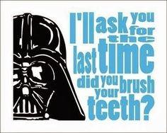 "Darth Vader Typography Star Wars Print ""Brush Your Teeth"". Select your color Star Wars Classroom, Classroom Themes, Classroom Quotes, Classroom Projects, Kit Fisto, Jar Jar Binks, Star Wars Bathroom, Bathroom Posters, Bathroom Art"