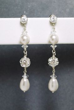 Long Wedding Earrings, Bridal Earrings, White Pearl Crystal CZ Post Earrings, Dangle Teardrop Pearl Earrings, Rhinestone Fireball Earrings