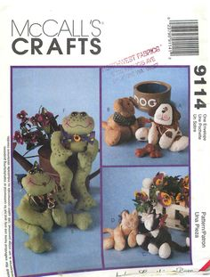 """McCall's Crafts 9114 Sewing Pattern for """"Bean Bag Pal Designs""""; Frogs, Dogs, Cats, OH MY! by CarlasHope on Etsy"""