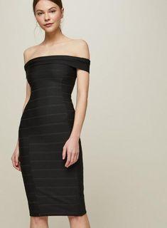 c4780f66 Black Bandage Bardot Midi Dress Bardot Midi Dress, Bodycon Dress, Body Con,  Body