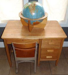 Vintage Modern Solid Pine Wood Teacher by vagabondsandcaravans, $325.00