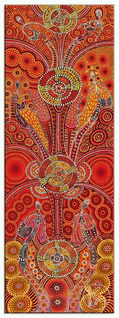 Dreamtime Ladies by Kathleen Wallace from Ltyentye Apurte, Central Australia created a 31 x 90 cm Acrylic on Canvas painting SOLD at the Aboriginal Art Store Kunst Der Aborigines, Aboriginal Painting, Aboriginal Dreamtime, Encaustic Painting, Art Populaire, Art Premier, Ouvrages D'art, Wow Art, Australian Art
