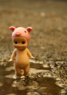 Sonny Angel with pig hat, in the mud of course