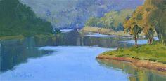 "Daily Paintworks - ""Lexington Lake Reflections - Los Gatos Plein Air - Plein Air Landscape Painting -  Award Winning Lan"" - Original Fine Art for Sale - © Kim VanDerHoek"
