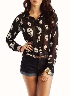 skull button-up blouse $36.30 - LOVE!