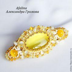 """Купить Заколка """"Москато ди Канелли"""" - жёлтый, агат, кулон, кошачий глаз, жемчуг, Сваровски"""