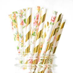 Our metallic gold and floral paper straws are two of our best selling patterns...mixed together they will make delightful addition to your party decorations. Bold metallic stripe with a soft feminine